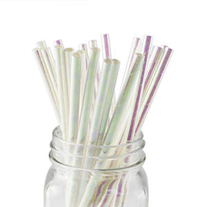 a jar of a row of clear iridescent drinking straws