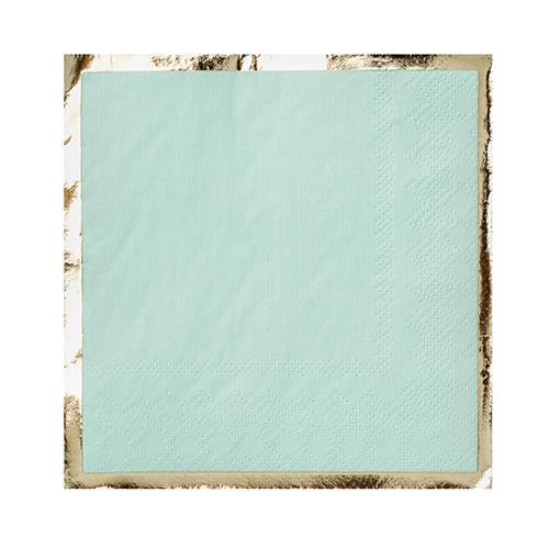 mint green paper napkin with gold foil border