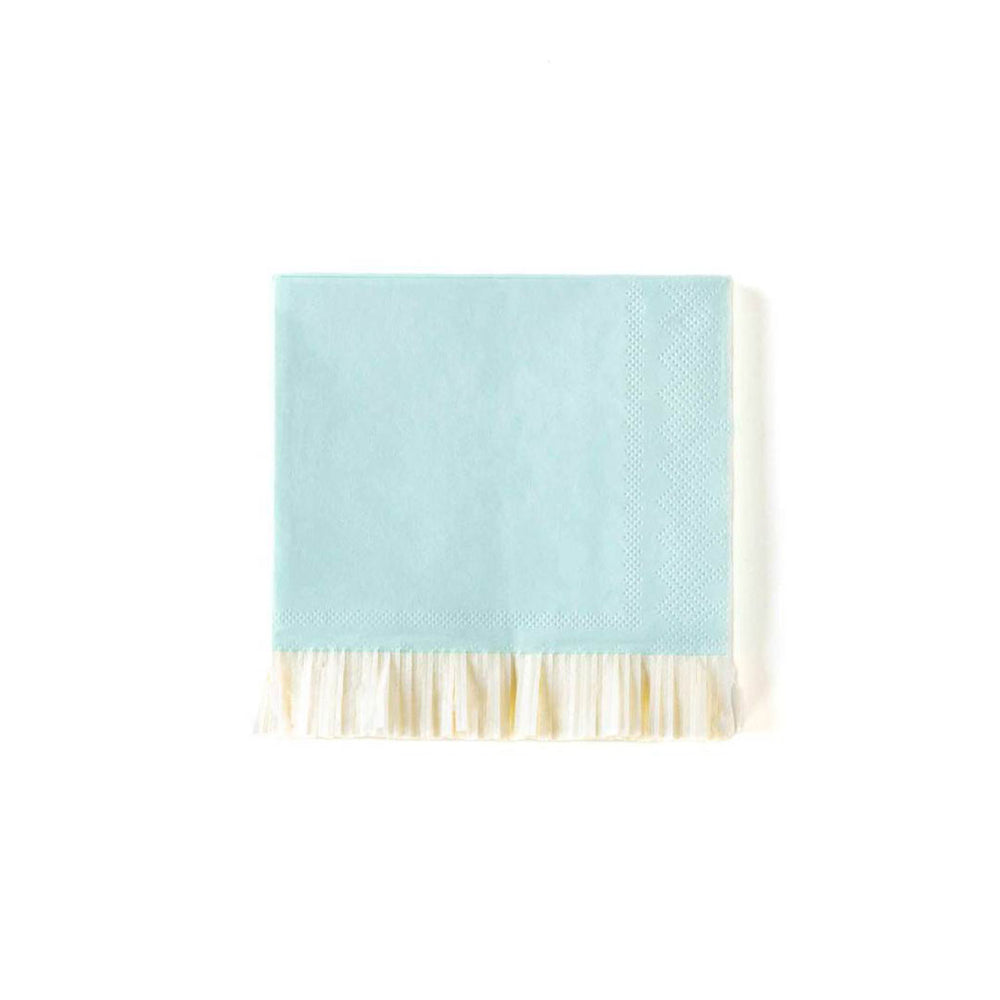 light blue paper napkin with cream colored fringed edge