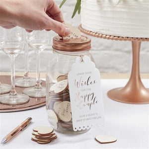 glass mason style jar, slotted rose gold lid, & heart-shaped wooden pieces luggage instruction tag