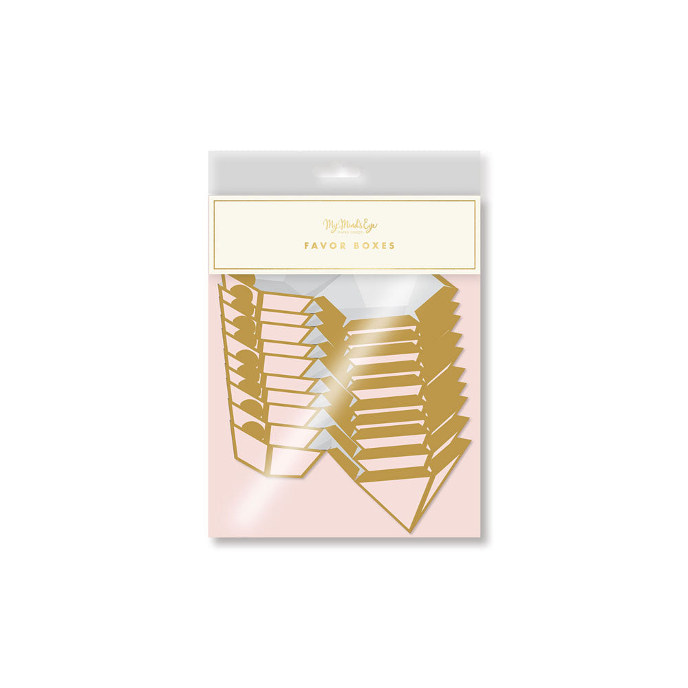 a package of blush pink and gold trimmed diamond shaped favor boxes