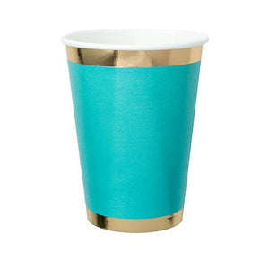 teal paper cup with gold foil border rim and base