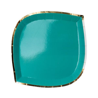 teal paper plate with gold foil border-trim