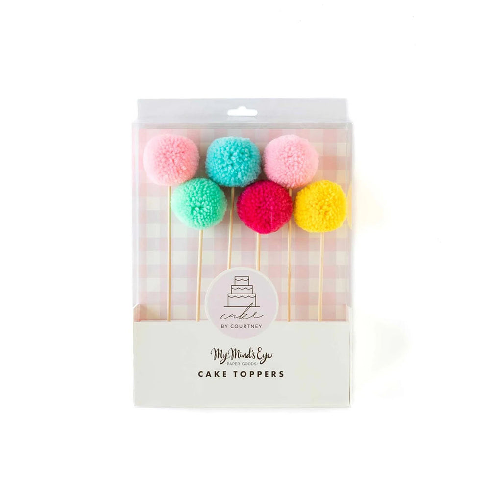 pack of red, yellow, mint, blue, light pink, and dark pink pom-pom style cake toppers