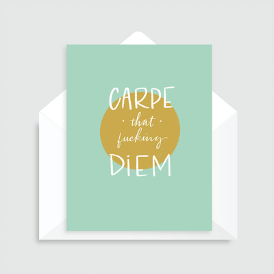 Carpe That Diem mint green greeting card with mustard yellow print and white text