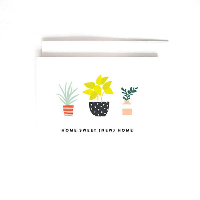 white card with 3 sketched house plants, caption says home sweet new home