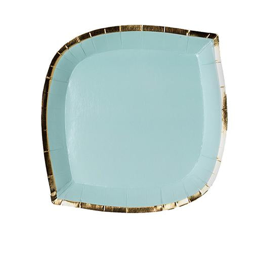 mint green paper plate with gold foil border trim color