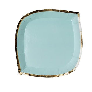 Load image into Gallery viewer, mint green paper plate with gold foil border trim color