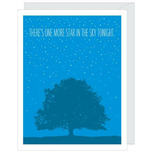 blue card-navy tree print, white stars, caption says there's 1 more star in the sky tonight