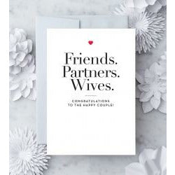 Friends. Partners. Wives Greeting Cards for wedding white card silver envelope