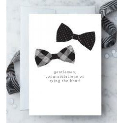 Gentlemen, Congratulations white Greeting Card silver envelope 2 bowties black text blank inside
