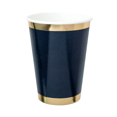 shiny navy paper cup with gold foil printed border trim