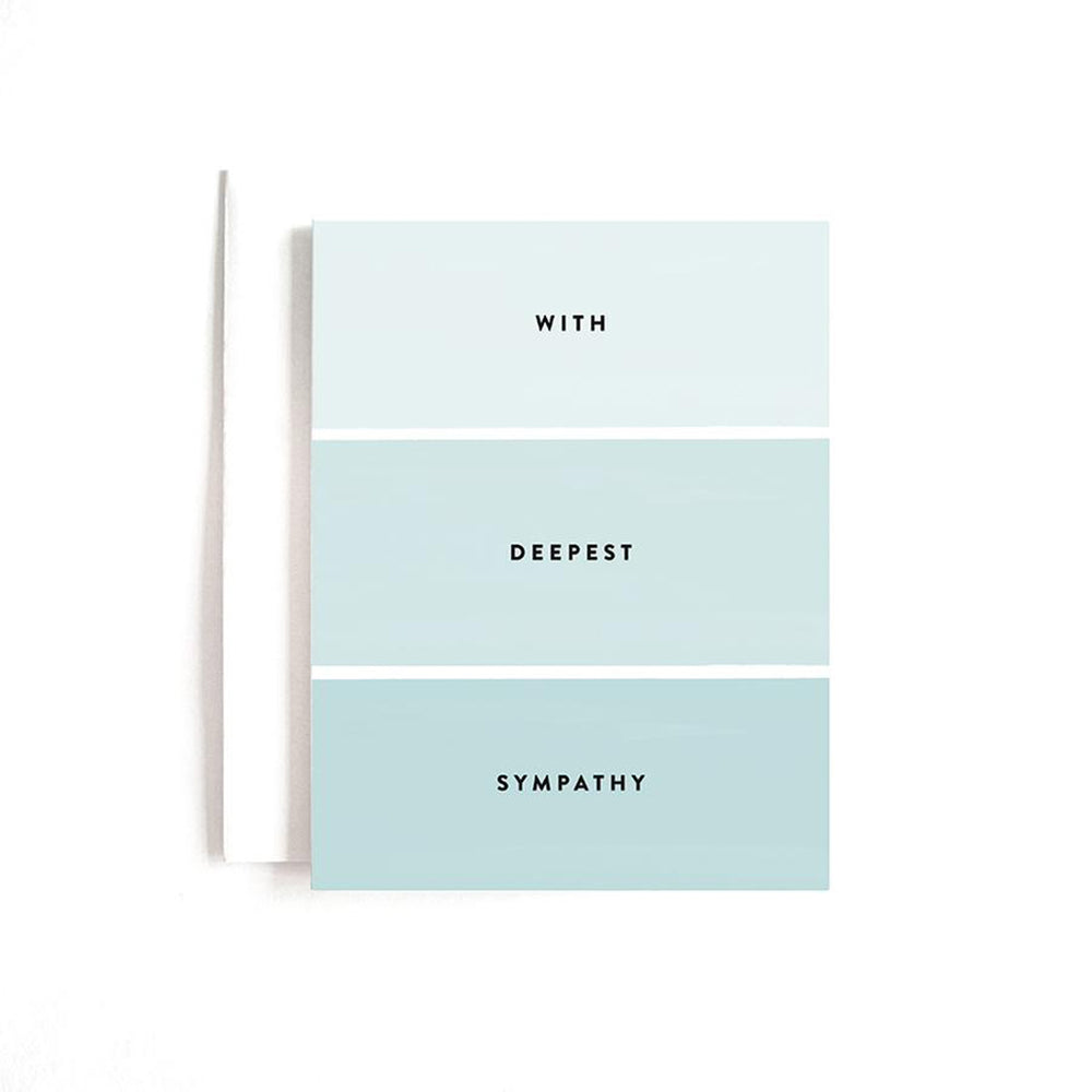Monochromatic aqua green color card caption says with deepest sympathy