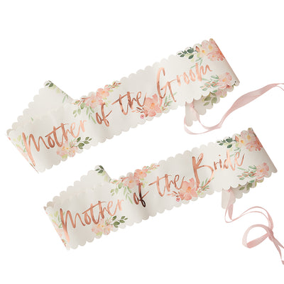 2 floral allover print paper sashes rose gold foil text - 1 mother of the bride/1 mother of groom
