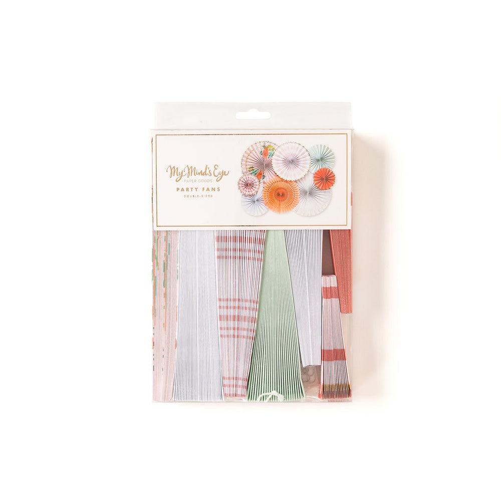 package of a mix of pastel colored florals, gingham, & stripes printed party fans