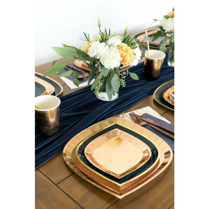 gold foil plates, navy plate with gold trim