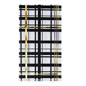 Load image into Gallery viewer, Black, white, & gold foil printed plaid pattern guest napkins