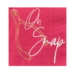 pink paper napkin, gold wish bone, white script font says oh snap
