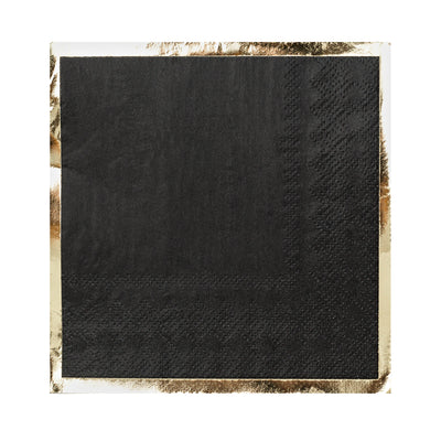 black paper napkin with gold foil border