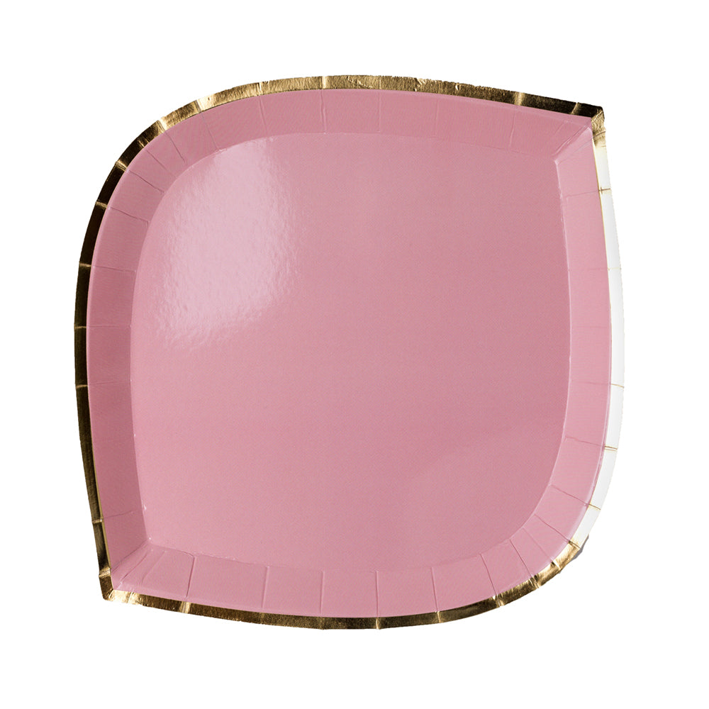 Blush Pink paper plate with gold foil trim-border