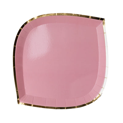 blush pink paper plate with gold trim
