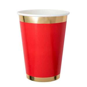 1 shiny red paper cup with gold border at rim and base