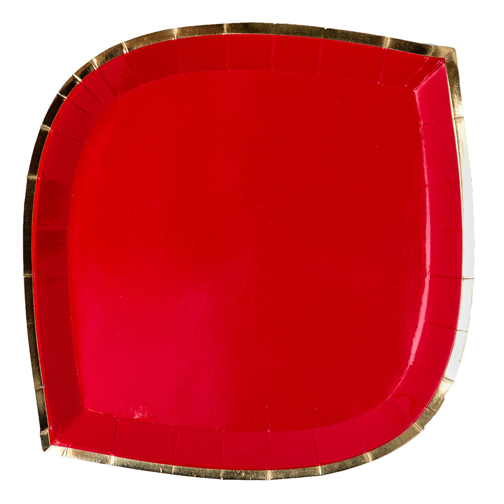 red paper plate with gold trim
