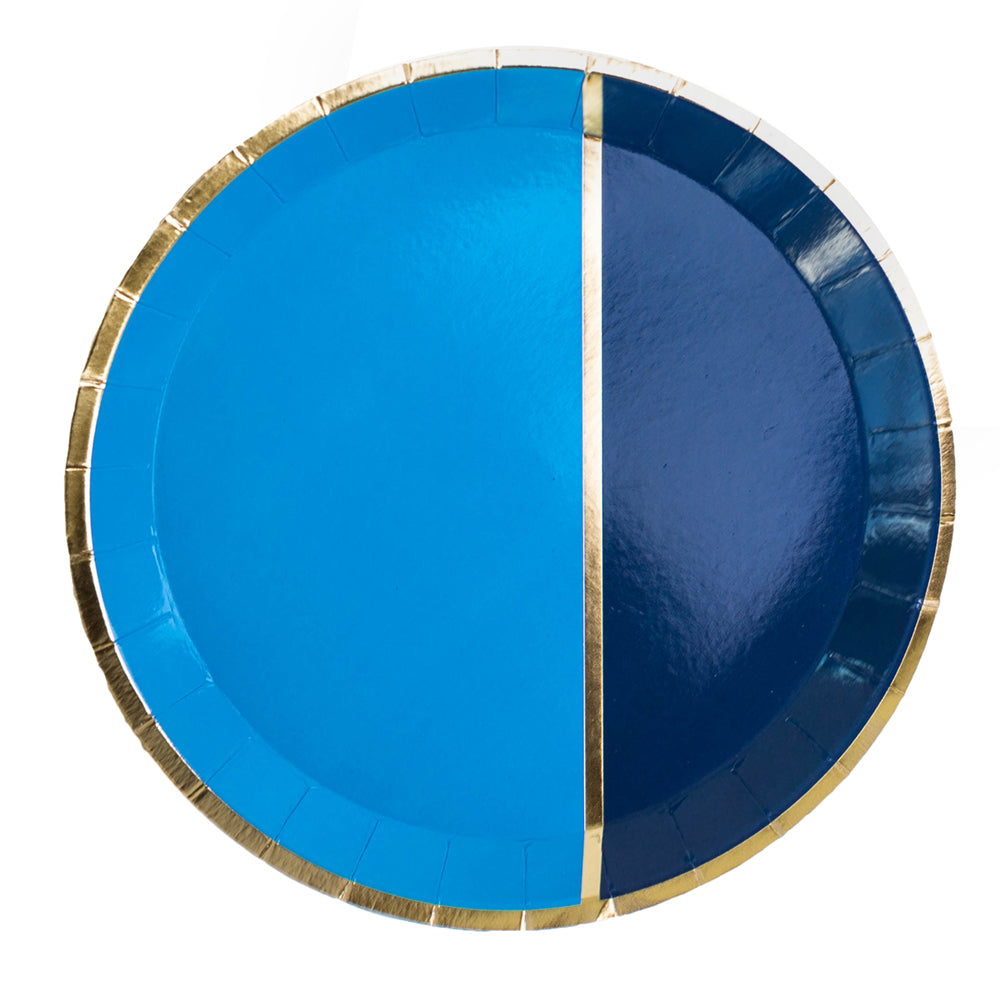paper plate half sky blue, half navy blue, gold stripe in the center, gold trim