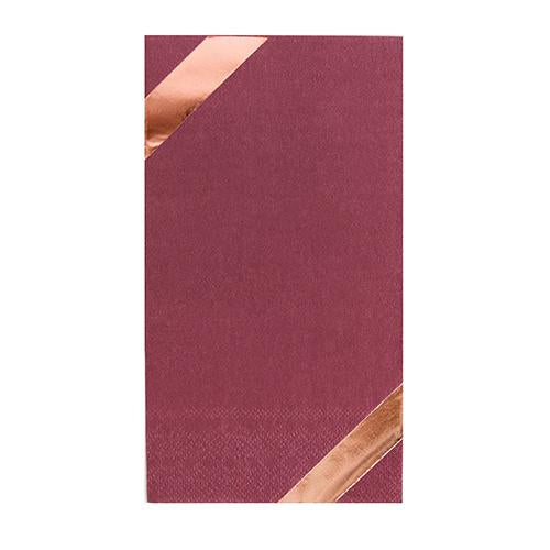 Load image into Gallery viewer, Mauve Guest Napkin with & Rose Gold foil diagnal border print