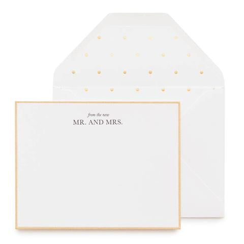 white card gold border black text from the new mr. & mrs. white envelope with white & gold dot liner