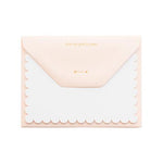 blank white scalloped edge note card pink envelope gold text on flap says from my post to yours