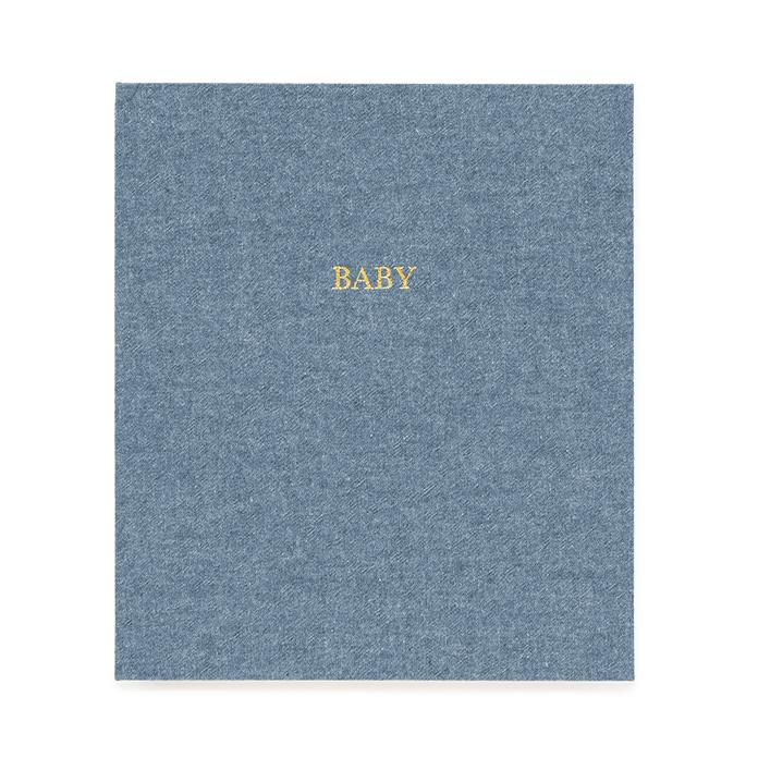 blue baby book cover gold printed text says baby