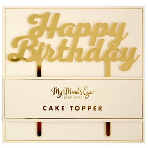 Mirrored Gold Happy Birthday Cake Topper