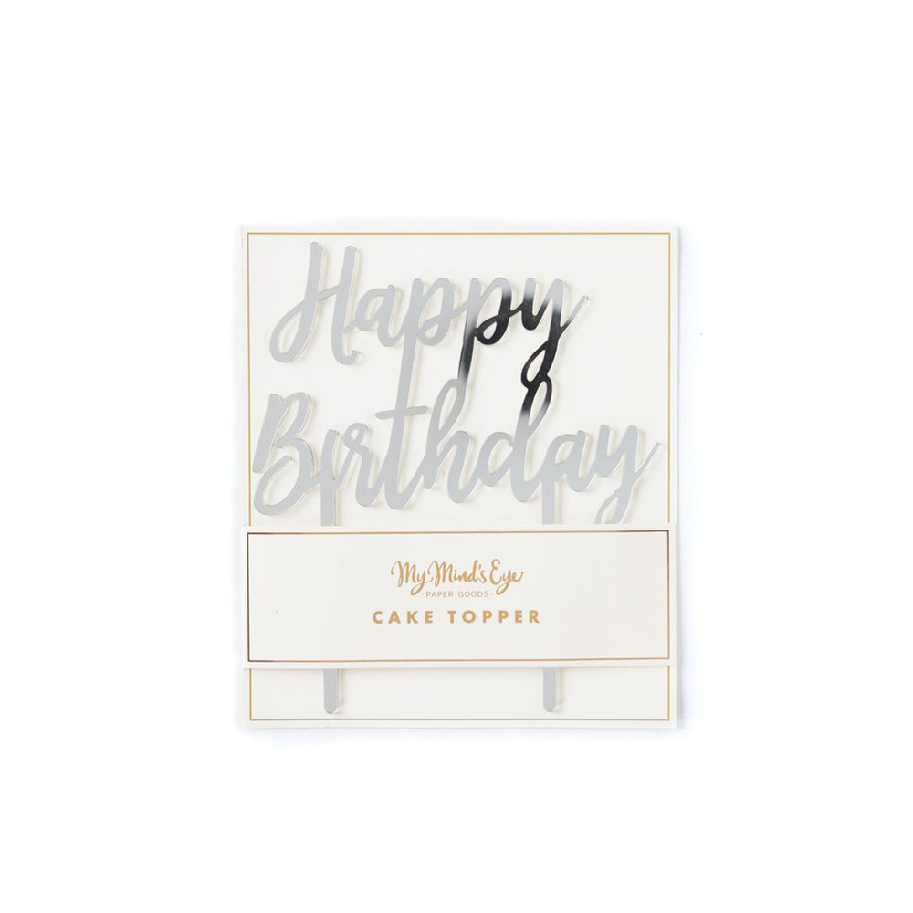 Mirrored Silver Happy Birthday Cake Topper