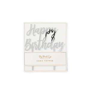Load image into Gallery viewer, Mirrored Silver Happy Birthday Cake Topper