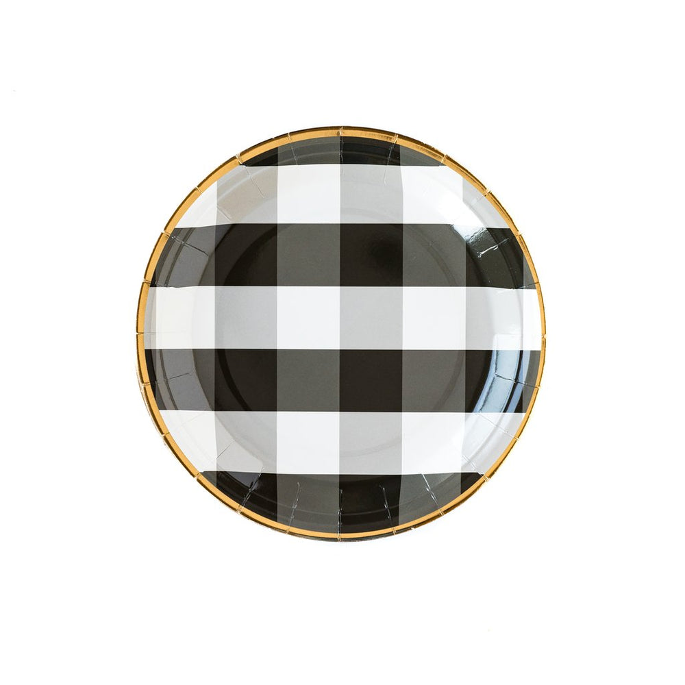 black and white buffalo checker plate plate with gold foil rim-trim