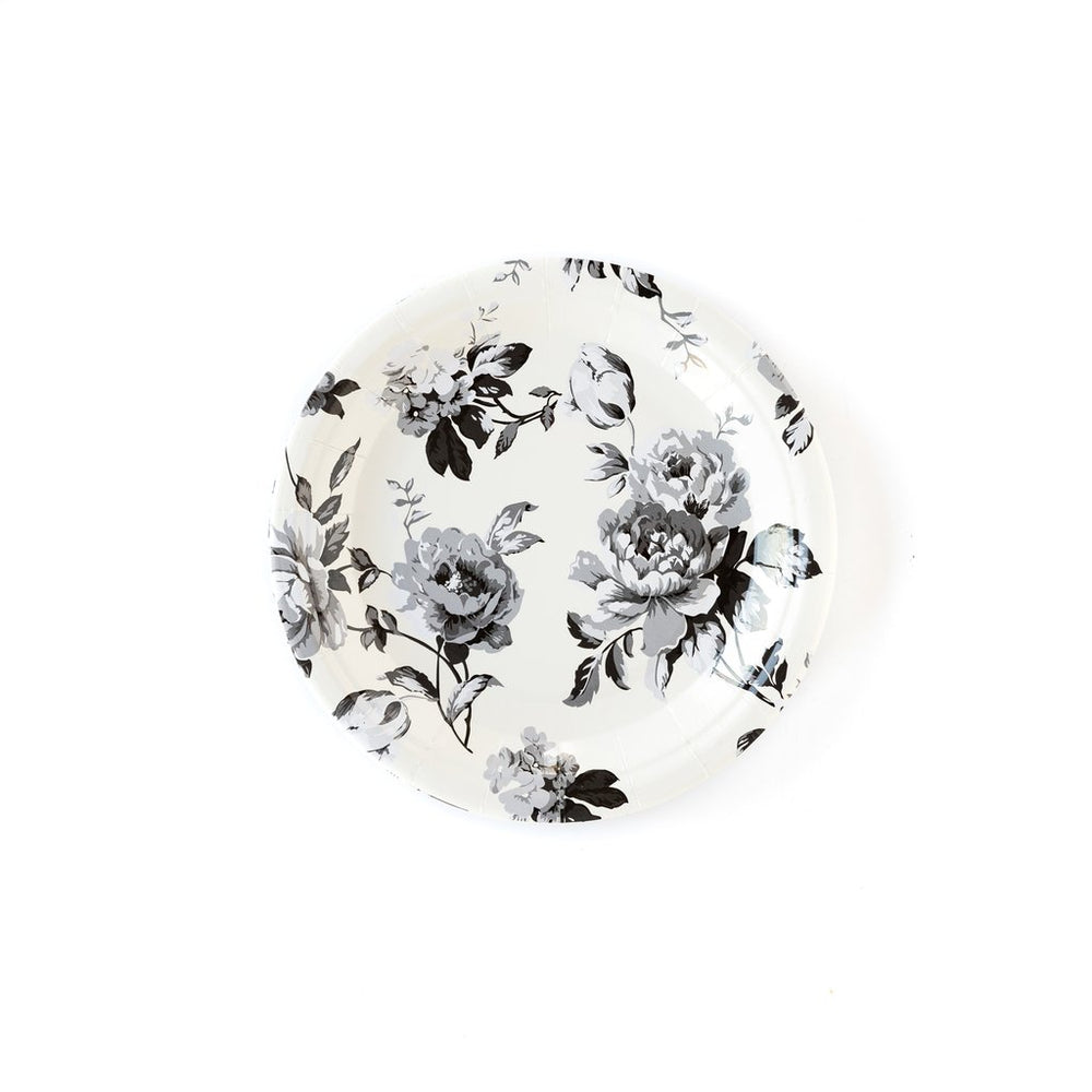cream plate with black and grey floral print