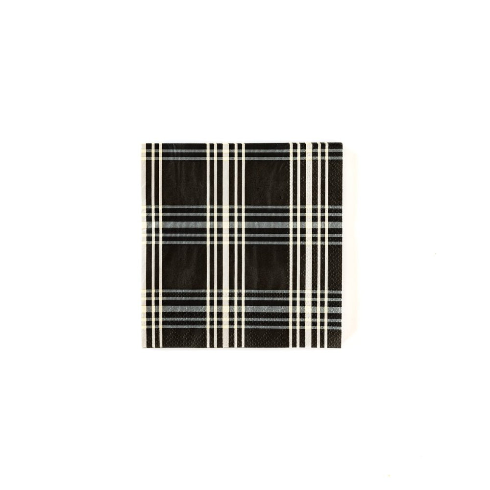 black and cream gingham plaid printed napkin
