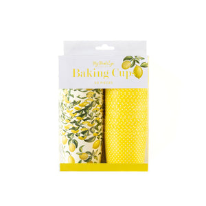 package of treat cups, 1 - allover lemon print and 1 - yellow and an allover white polka dot print