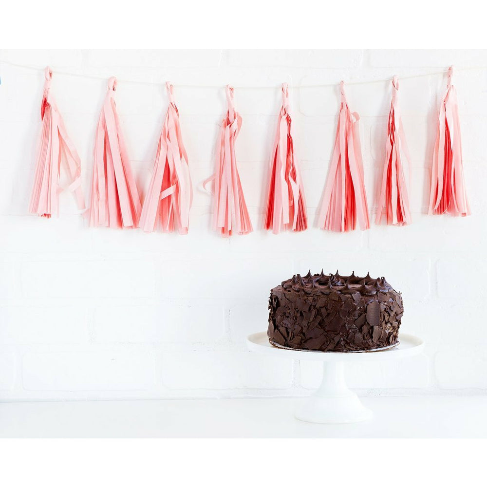 blush pink paper tassel banner on wall above chocolate cake on a white cake stand