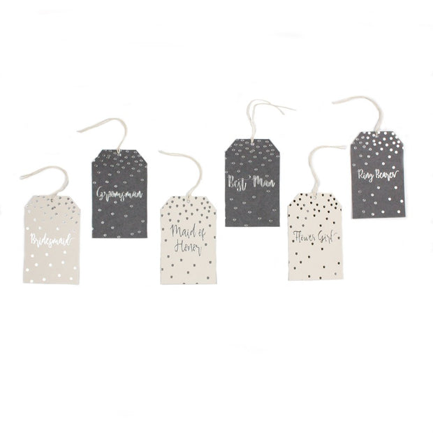 Paper Love Grey Glam Wedding Party Gift Tags