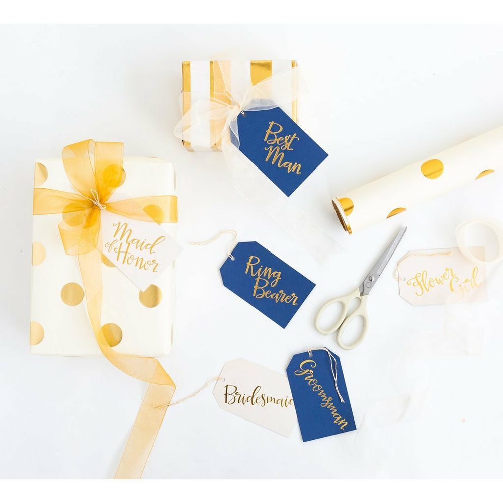 Navy & Cream Bridal Party Gift Tags, white and gold wrapped gift boxes, and scissors