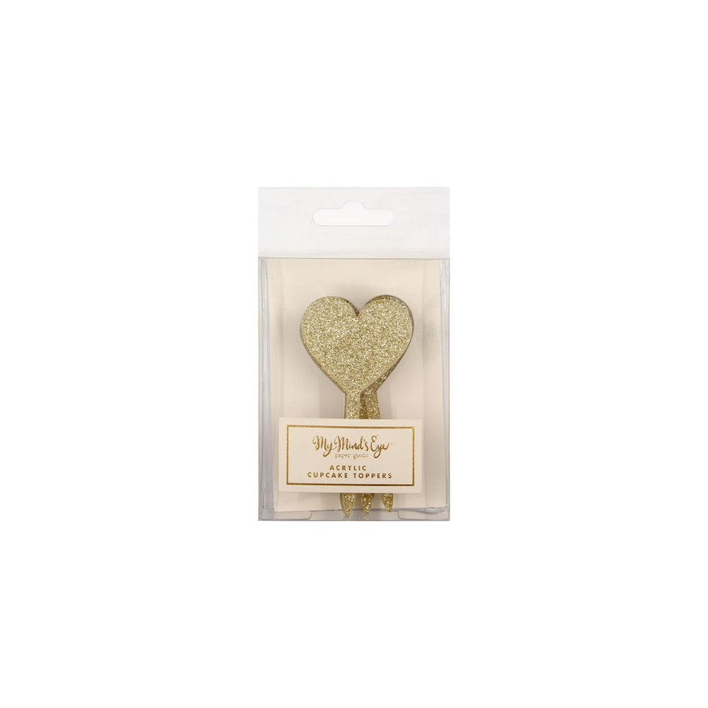 package of Gold Heart Shaped Cupcake Toppers