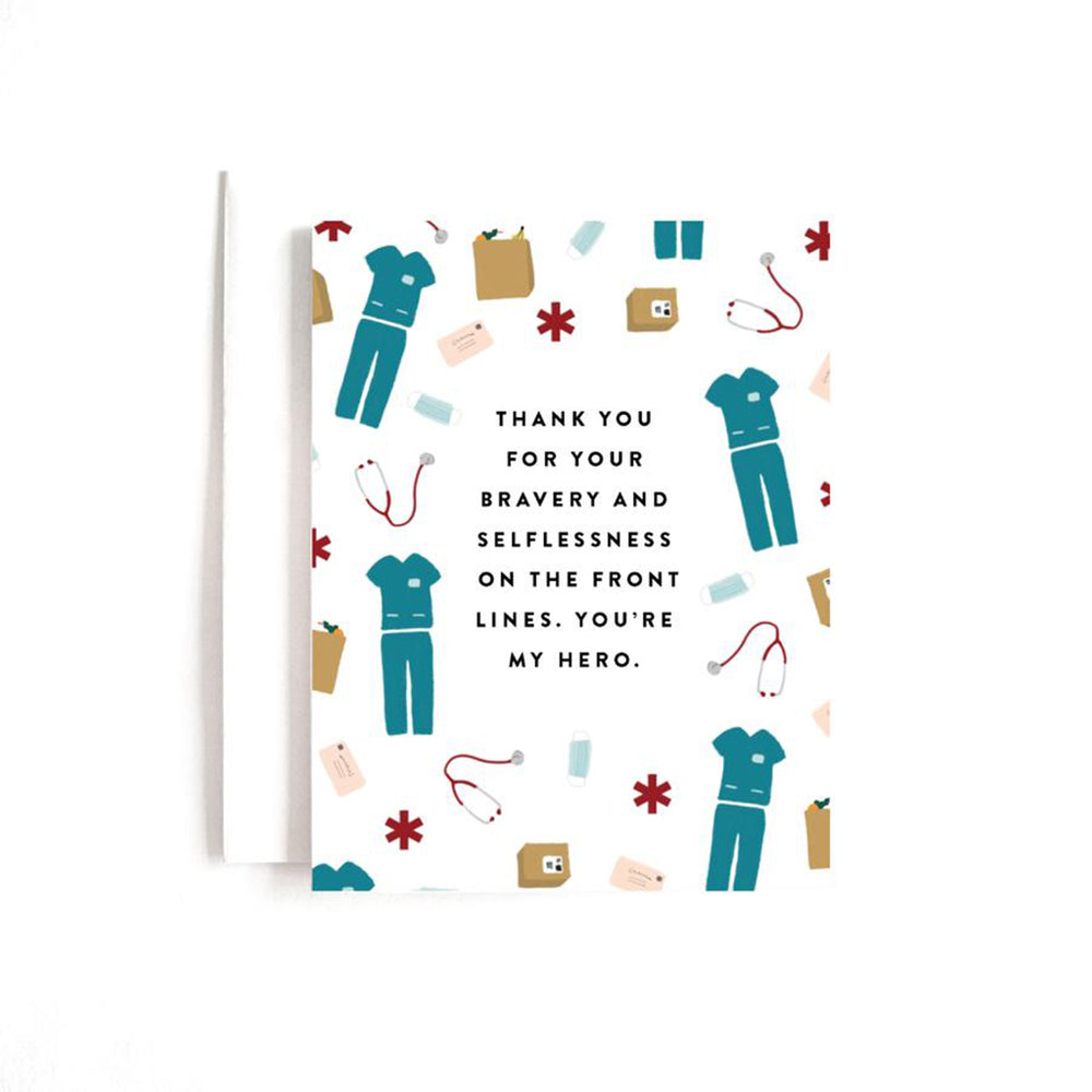 white greeting card with sketches of nursing uniforms, grocery bags, packages that says thank you