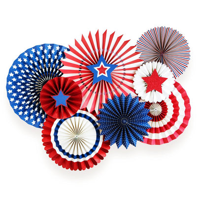 red, white, and blue party fans