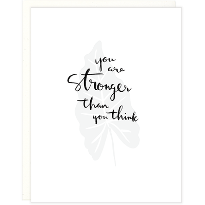 white greeting card white envelope black text says You're Stronger Than You Think