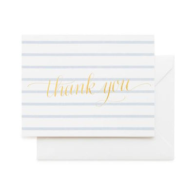 white and blue striped folded notecard with gold foil printed text says thank you white envelope