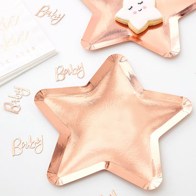 2 star shaped rose gold foil paper plates