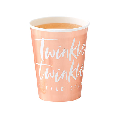 rose gold foil paper cup with white printed font says twinkle twinkle