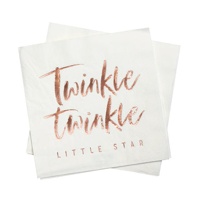 white paper napkins with rose gold foil text says Twinkle Twinkle Little Star